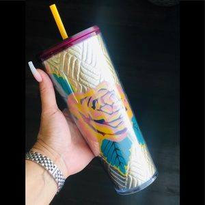 Floral Gold quilted starbucks tumbler